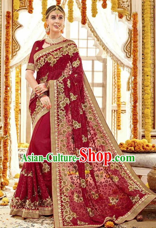 Asian India Traditional Court Wedding Sari Dress Indian Bollywood Bride Wine Red Costume for Women
