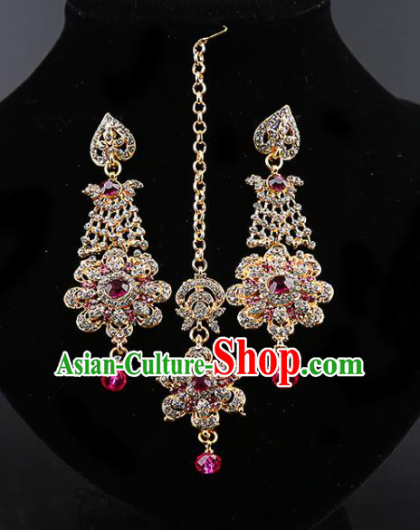 India Traditional Wedding Jewelry Accessories Indian Bollywood Rosy Crystal Tassel Earrings and Eyebrows Pendant for Women