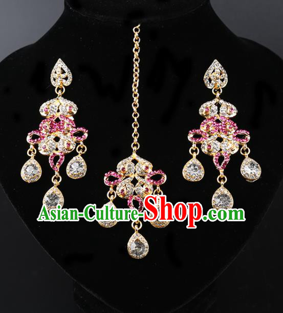 India Traditional Jewelry Accessories Indian Bollywood Princess Pink Crystal Tassel Earrings and Eyebrows Pendant for Women