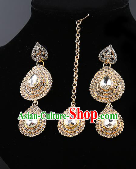 Indian Traditional Bollywood Crystal Earrings and Eyebrows Pendant India Court Princess Jewelry Accessories for Women