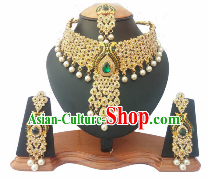 South Asian India Traditional Green Crystal Jewelry Accessories Indian Bollywood Necklace Earrings and Headwear for Women