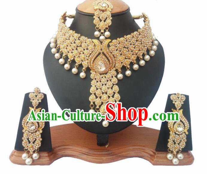 South Asian India Traditional Crystal Jewelry Accessories Indian Bollywood Necklace Earrings and Headwear for Women