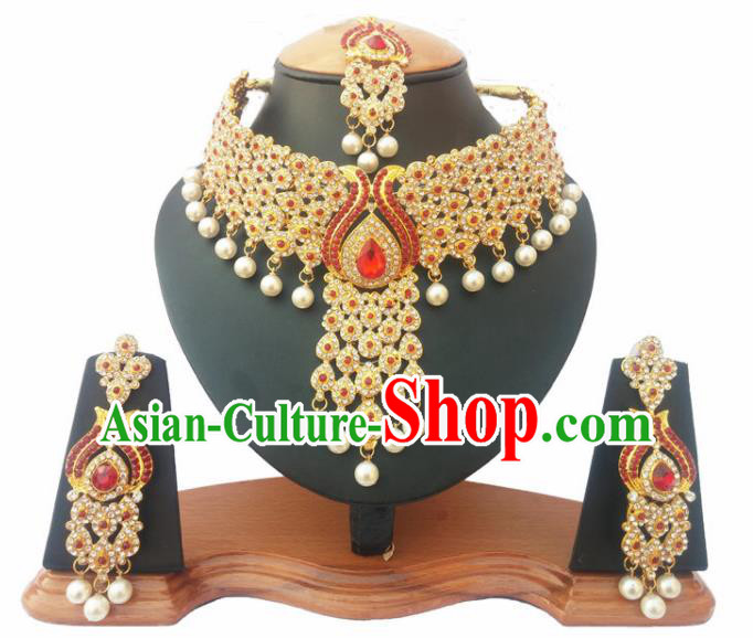 Asian India Traditional Red Crystal Jewelry Accessories Indian Bollywood Necklace Earrings and Headwear for Women