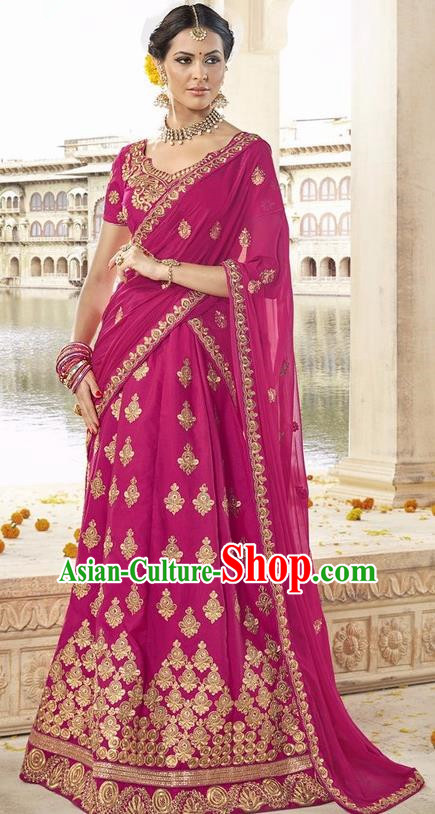 Asian India Traditional Bride Embroidered Rosy Sari Dress Indian Bollywood Court Queen Costume Complete Set for Women