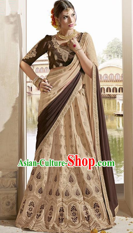 Asian India Traditional Bride Embroidered Khaki Sari Dress Indian Bollywood Court Queen Costume Complete Set for Women