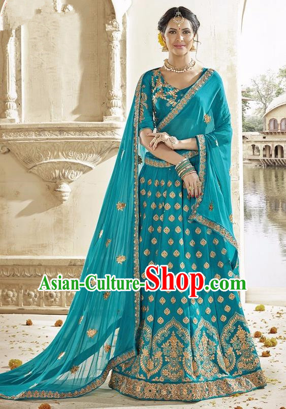 Asian India Traditional Bride Embroidered Blue Sari Dress Indian Bollywood Court Queen Costume Complete Set for Women