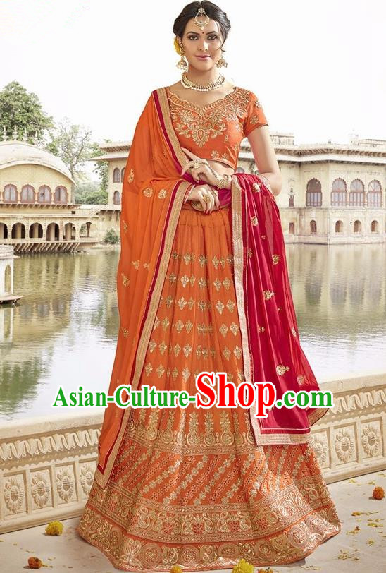 Asian India Traditional Bride Embroidered Orange Sari Dress Indian Bollywood Court Queen Costume Complete Set for Women
