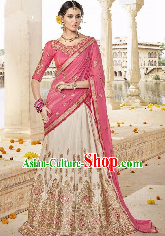 Asian India Traditional Bride Embroidered Beige Sari Dress Indian Bollywood Court Queen Costume Complete Set for Women