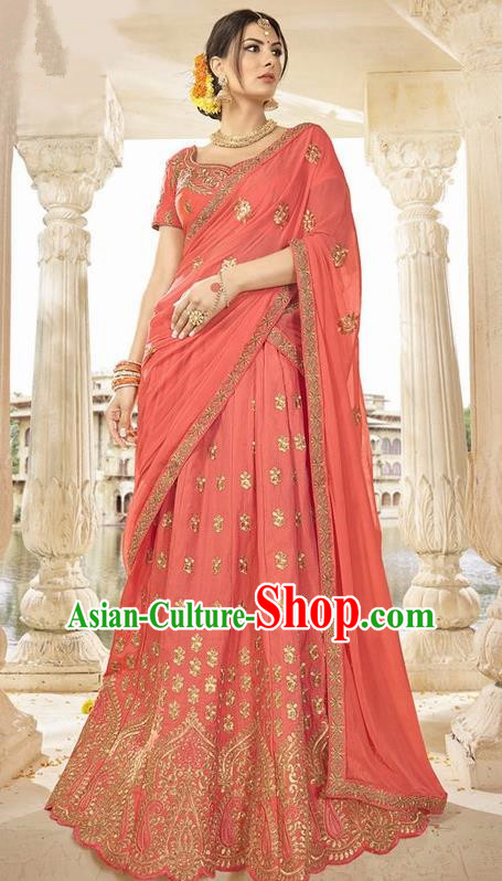 Asian India Traditional Bride Embroidered Watermelon Red Sari Dress Indian Bollywood Court Queen Costume Complete Set for Women