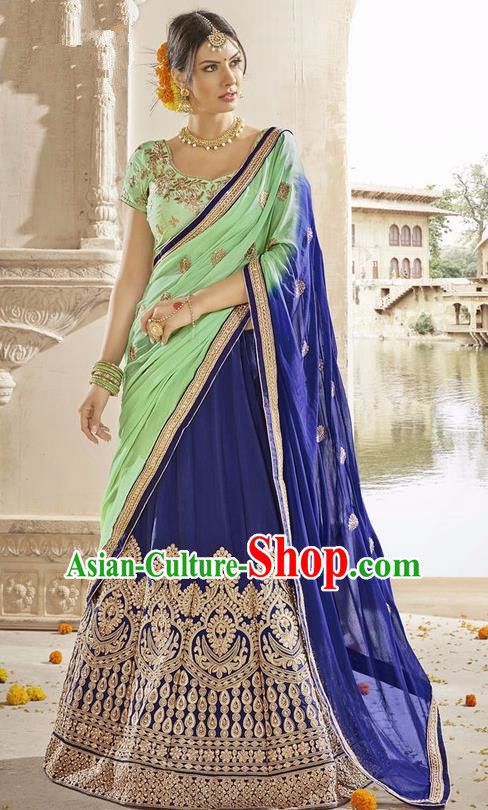 Asian India Traditional Bride Embroidered Royalblue Sari Dress Indian Bollywood Court Queen Costume Complete Set for Women