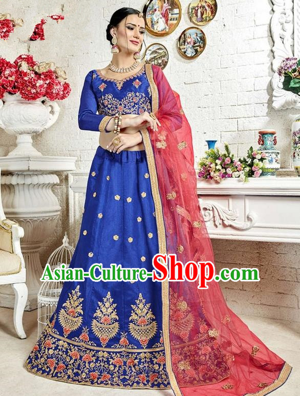 Asian India Traditional Wedding Bride Embroidered Royalblue Sari Dress Indian Bollywood Court Queen Costume Complete Set for Women