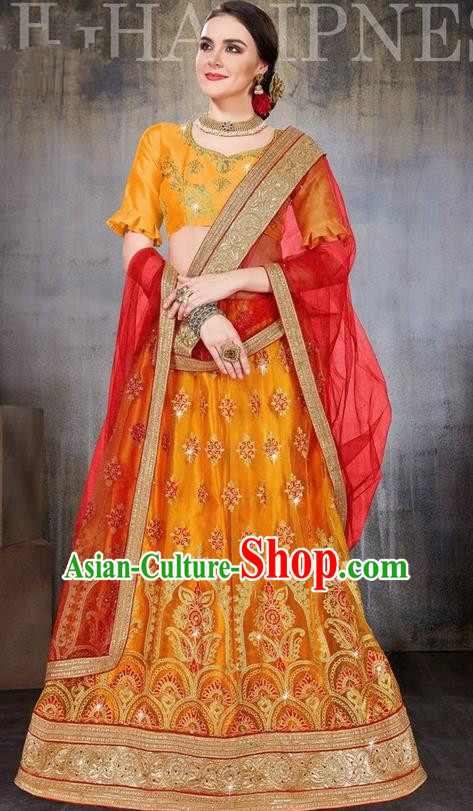 Asian India Traditional Wedding Bride Embroidered Orange Sari Dress Indian Bollywood Court Queen Costume Complete Set for Women