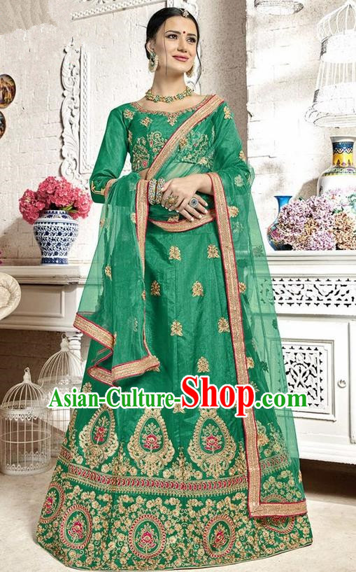 Asian India Traditional Wedding Bride Embroidered Green Sari Dress Indian Bollywood Court Queen Costume Complete Set for Women