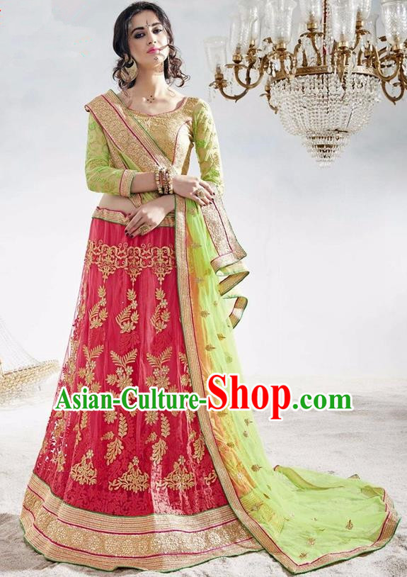 Asian India Traditional Wedding Bride Embroidered Sari Dress Indian Bollywood Court Queen Costume Complete Set for Women