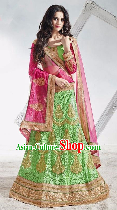 Asian India Traditional Wedding Bride Embroidered Green Lace Sari Dress Indian Bollywood Court Queen Costume Complete Set for Women
