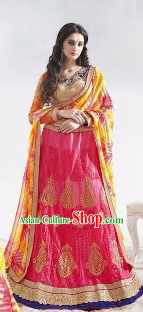 Asian India Traditional Wedding Bride Embroidered Rosy Sari Dress Indian Bollywood Court Queen Costume Complete Set for Women