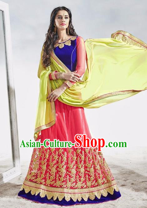 Asian India Traditional Wedding Bride Embroidered Rosy Lace Sari Dress Indian Bollywood Court Queen Costume Complete Set for Women