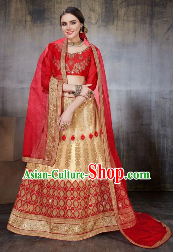 Asian India Traditional Wedding Embroidered Golden Sari Dress Indian Bollywood Court Bride Costume Complete Set for Women
