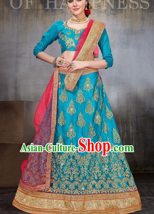 Asian India Traditional Wedding Embroidered Blue Sari Dress Indian Bollywood Court Bride Costume Complete Set for Women