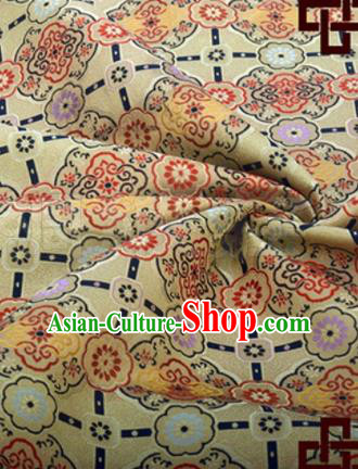 Chinese Traditional Pattern Design Silk Fabric Yellow Song Brocade Tang Suit Drapery Material