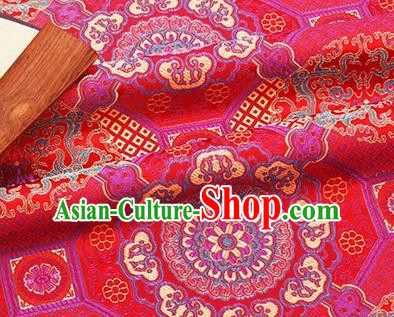 Chinese Traditional Pattern Design Silk Fabric Red Brocade Tang Suit Fabric Material