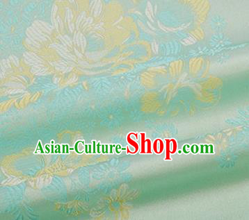 Chinese Traditional Peony Pattern Design Silk Fabric Green Brocade Tang Suit Fabric Material