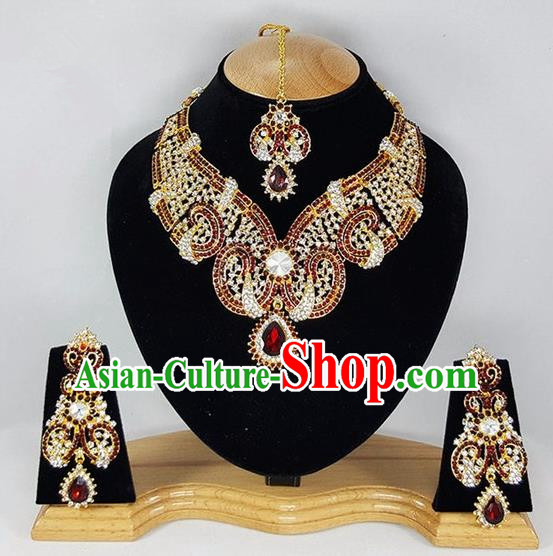 Traditional Indian Bollywood Red Crystal Necklace Earrings and Eyebrows Pendant India Princess Jewelry Accessories for Women