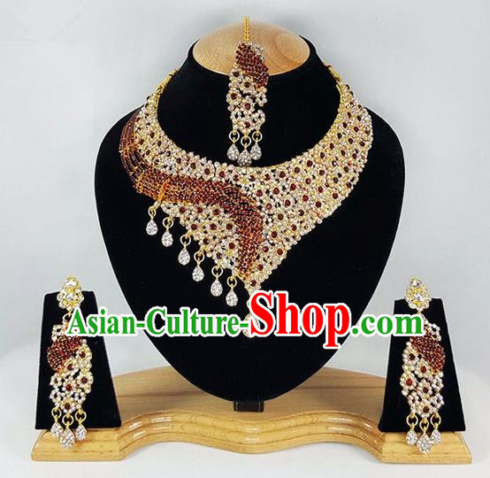 Traditional Indian Bollywood Crystal Tassel Necklace Earrings and Eyebrows Pendant India Princess Jewelry Accessories for Women