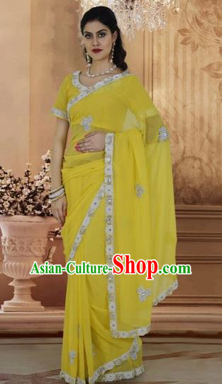 Indian Traditional Bollywood Yellow Veil Sari Dress Asian India Royal Princess Embroidered Costume for Women