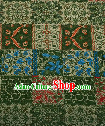 Chinese Traditional Hanfu Silk Fabric Pattern Design Green Brocade Tang Suit Fabric Material
