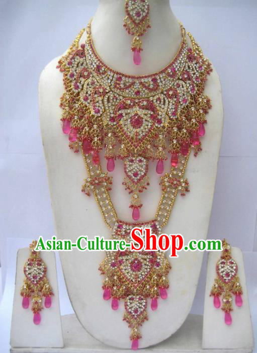 Traditional Indian Wedding Jewelry Accessories Bollywood Rosy Necklace Earrings and Hair Clasp for Women