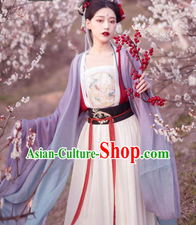 Chinese Ancient Imperial Consort Historical Costume Traditional Song Dynasty Court Embroidered Hanfu Dress for Women