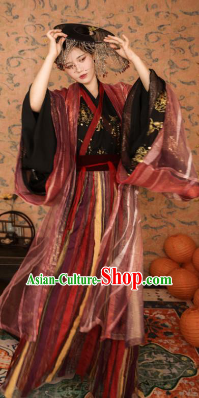 Asian Chinese Traditional Jin Dynasty Imperial Consort Historical Costume Ancient Princess Embroidered Hanfu Dress for Women