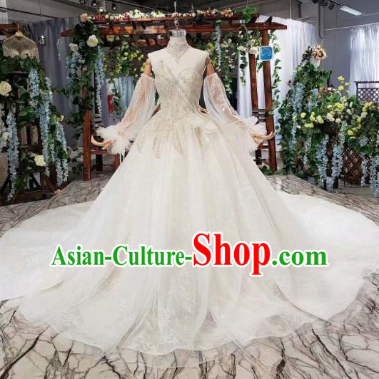 Top Grade Customize Bride White Trailing Full Dress Court Princess Wedding Costume for Women