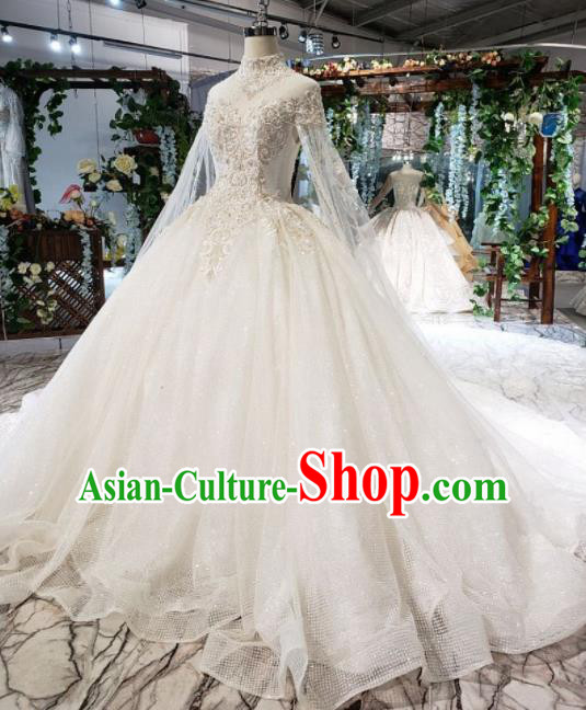 Top Grade Customize Bride White Veil Trailing Full Dress Court Princess Wedding Costume for Women