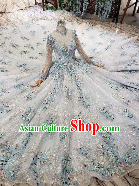 Top Grade Customize Bride Embroidered Blue Flowers Trailing Full Dress Court Princess Wedding Costume for Women