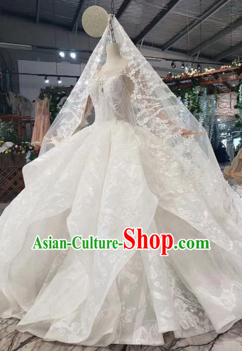 Top Grade Customize Bride Embroidered Beads White Trailing Full Dress Court Princess Wedding Costume for Women