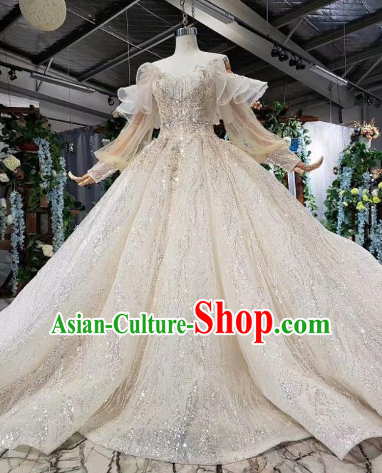 Top Grade Customize Bride Embroidered Off Shoulder Trailing Full Dress Court Princess Wedding Costume for Women