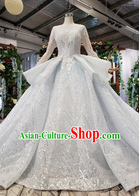 Top Grade Customize Bride Beads Tassel Trailing Full Dress Court Princess Wedding Costume for Women