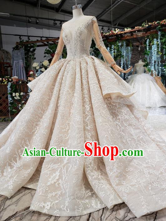 Top Grade Customize Bride Embroidered Pink Trailing Full Dress Court Princess Wedding Costume for Women