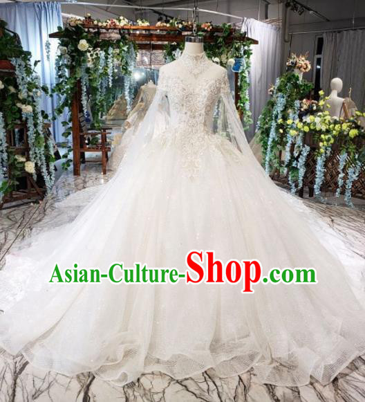 Top Grade Customize Bride Embroidered White Veil Trailing Full Dress Court Princess Wedding Costume for Women