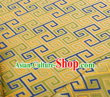 Chinese Traditional Svastika Pattern Design Silk Fabric Yellow Song Brocade Tang Suit Drapery Material