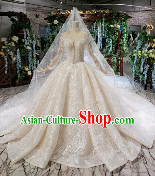 Handmade Customize Bride Embroidered Beads Trailing Full Dress Court Princess Wedding Costume for Women