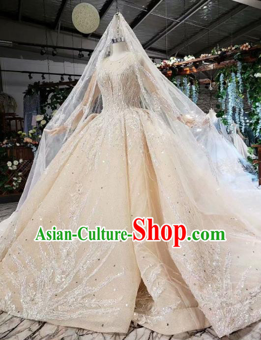 Handmade Customize Embroidered Trailing Wedding Dress Court Princess Bride Costume for Women