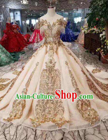 Customize Handmade Wedding Princess Embroidered Mullet Dress Court Bride Costume for Women