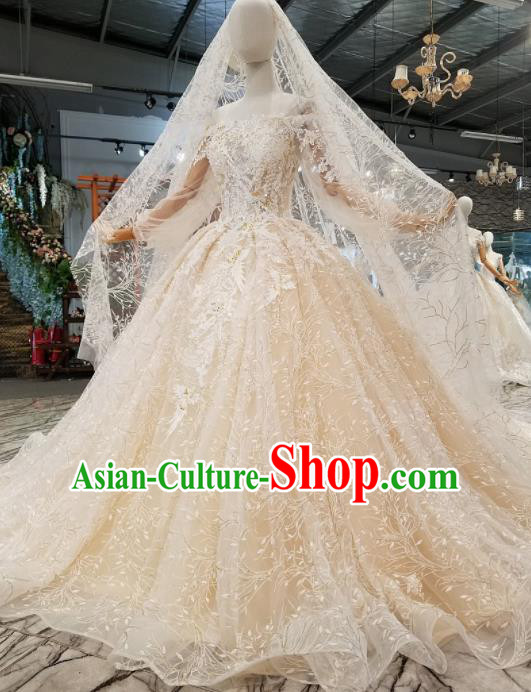 Customize Handmade Princess Champagne Veil Trailing Dress Wedding Court Bride Costume for Women