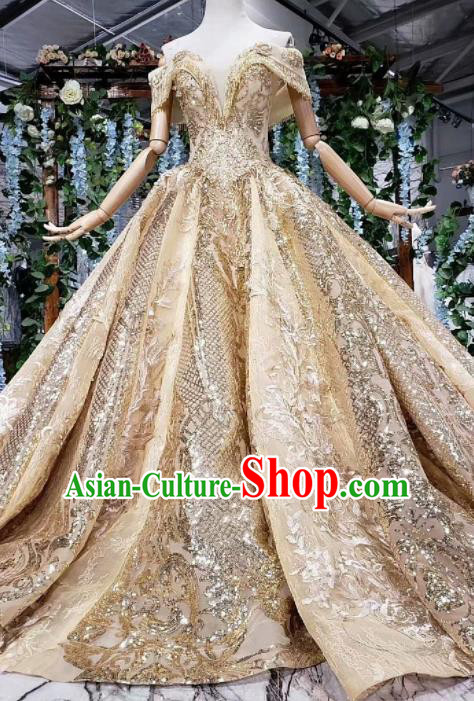 Top Grade Customize Embroidered Golden Trailing Full Dress Court Princess Waltz Dance Costume for Women