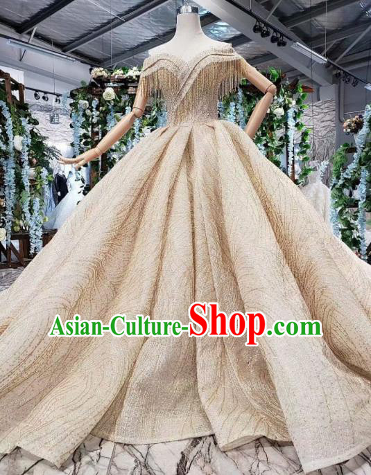 Handmade Customize Princess Trailing Tassel Wedding Dress Court Bride Embroidered Costume for Women