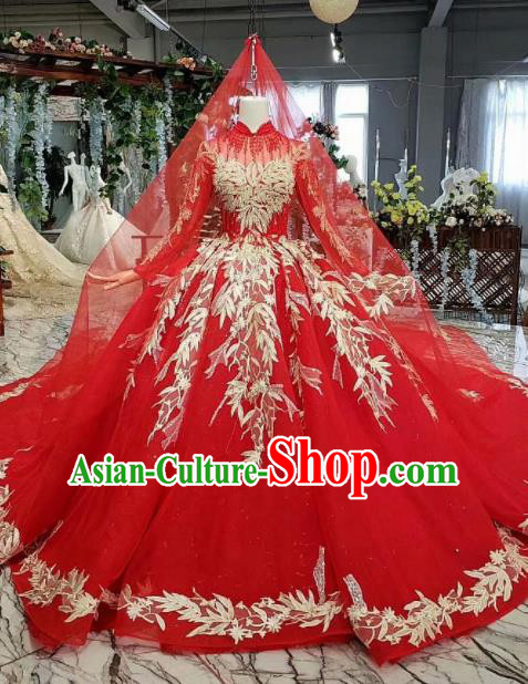 Chinese Customize Embroidered Red Trailing Wedding Dress Top Grade Court Bride Costume for Women