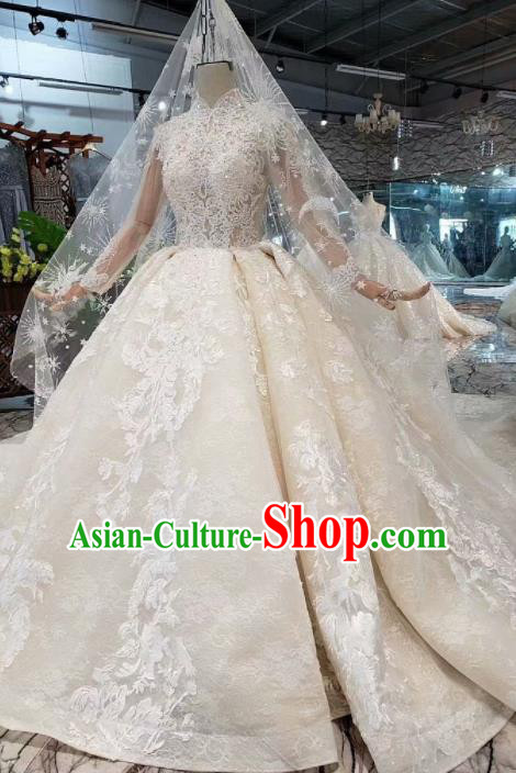 Handmade Customize Princess Lace Wedding Mullet Dress Court Bride Embroidered Costume for Women